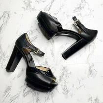 Michael Michael Kors Platform Pumps Sz 8.5 Peep Toe Black Sexy Chunky Block Heel Photo