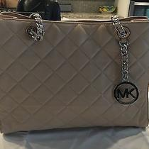 Michael Michael Kors Susannah Large Quilted Blush Silver Leather Tote Pre Owned Photo
