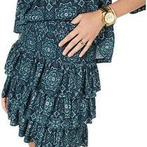 Michael Michael Kors Women's Skirt Blue Size Xs Medallion Stretch 88 881 Photo