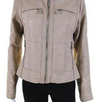 Michael Michael Kors Womens Leather Full Zipper Jacket Beige Size Medium Photo