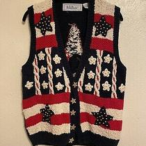 Michael Simon Knock Off Tacky Vintage Sweater Vest Red White and Blue Medium Photo