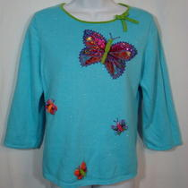 Michael Simon Sweater Knit Top Sz M Aqua Butterflies Sequins Beaded Spring Photo