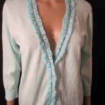 Michael Simon Workshop Cardigan Sz Medium M Aqua Beaded Ruffle Sweater New Nwt Photo
