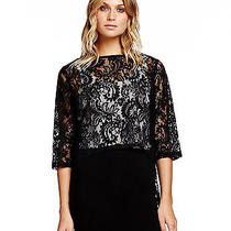 Michael Stars   3/4 Sleeve Lace Boatneck Hi Low Top Photo
