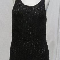 Michael Stars Black Cotton Lacy Tape Yarn Sweater Knit Vest Tank Top Size 1 M Photo