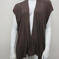 Michael Stars Brown Sueded Cotton & Micro Modal Knit Open Cardigan Top One Size Photo