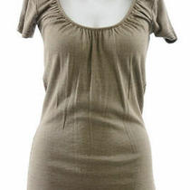 Michael Stars Maternity Suede Brown Osfa Shine Shirred Scoop Neck Tshirt New Photo