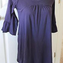 Michael Stars Purple Eggplant Empire Dress Fluted 3/4 Sleeves Cotton Womens Photo