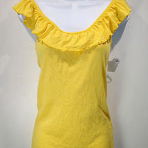 Michael Stars Shine Top Nwt Osfm  Yellow Knit Ruffle Neckline Sleeveless New Photo
