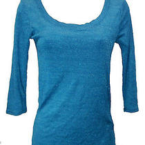 Michael Stars Shine Top One Size Nwt Blue-Green Ballet Neck 3/4 Sleeves New Photo