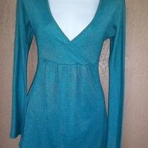Michael Stars Turquoise Blue Shimmer Empire Baby Doll Mini Dress Top Os S M L  Photo