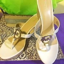 Micheal Kors Flip Flop Wedge Sandalsblush Color With Cork Heel.  Leather Size 9 Photo