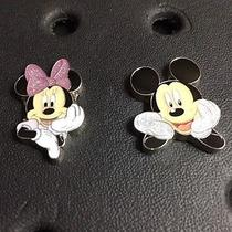 Mickey and Minnie Metal 2pc Jibbitz Charms for Crocs & Jibbitz Accessories. Rare Photo