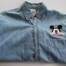 Mickey & Co. by Admit One Long Sleeve Button Down Mickey Mouse Size M Vintage Photo