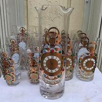 Mid Century 25 Pieces Barware Set Highball Scotch Martini Shotglasses & Pitcher Photo