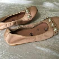 Midas Bombal Blush Pearl Feature Leather Loafer Ballet Flats Shoes Sz 39 - New Photo