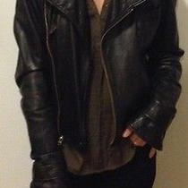 Mike & Chris Black Leather Moto Jacket Vince Helmut Lang Medium Photo
