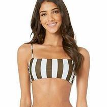 Mikoh Swimwear Retro Olive Stripe Kumu Bikini Top Women's Size Large 71028 Photo