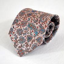 Mila Schon Mans Tie Nwot Unworn Paisley Patterned Silk Blue Blush Rhinestones Photo