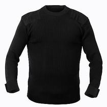 Military Style Acrylic Tactical Commando Crewneck Sweater Black Photo