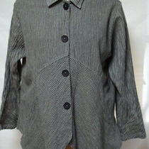 Mill Valley Gray Striped Lagenlook Hobo Shirt/top Hilo Hem-Cotton/rayon/linen-Xl Photo