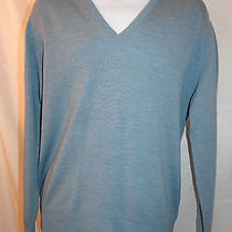Mills Touche Men's Sweater v-Neck 100% Merino Lambs Wool Blue Size 107cm/42 Photo