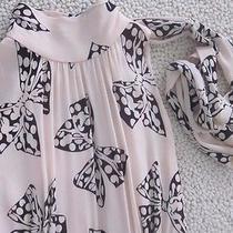 Milly of New York Blush Pink Feminine Black Bows High Neck Tie Sz4 Wool Dress Photo