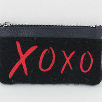 Mim & Ray Black Red Wool Leather 'Xoxo' Embroidered Clutch Handbag Photo