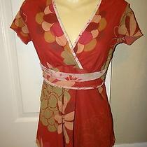 Mimi Maternity Sweet Pea Short Sleeve Floral Print Rust Shirt Top Size Small Photo