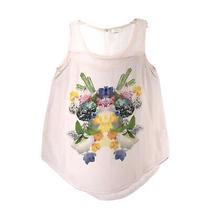 Mine Blush Pink Semi Sheer Sleeveless Blouse Sz S Floral Print Front Tank Top Photo