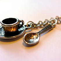 Mini Teacup & Spoon Charm Necklace -Alice in Wonderland Cup-Tea Party Jewellery Photo