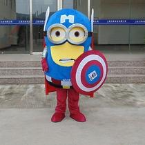Minion X Captain America Cartoon Fancy Dress Mascot Costume Adult Suit Express Photo