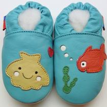 Minishoezoo Soft Sole Leather Toddler Shoes Undersea Aqua  24-36 M Photo