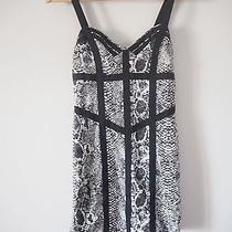 Mink Pink Black and White Snakeskin Animal Print 90s Corset Body Con Mini Dress Photo