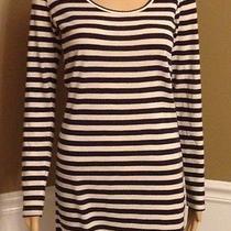 Mink Pink Blue and White Long Sleeve Dress Size Medium Wool Blend Euc Photo