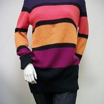 Mink Pink Multi-Color Primary Education Striped Sweater Sz S 100% Cotton New Nwt Photo