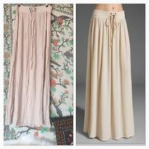 Mink Pink Nude Pink Peach Chiffon Boho Peasant Long Hippie Festival Tie Skirt M Photo