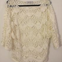 Mink Pink Open Knit White Knitted Sweater Hippie Dolman Batwing Photo