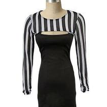 Mink Pink S Brown Bandage Club Dress Striped Mesh Top Open Front Nwot Nordstrom Photo