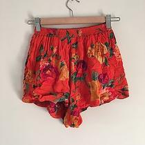 Mink Pink Summery Orange Floral Flower High Waisted Mini Shorts Xs Photo