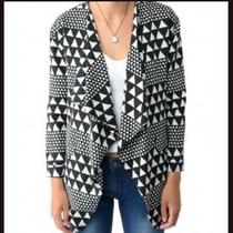 Minkpink Black and White Oversize Geometric Triangle Print Blazer Size Medium Photo