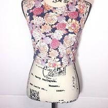 Minkpink Floral Crop Top Womens Size S Small Sleeveless Zip Up Back Multi-Color Photo