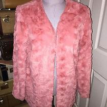 Minkpink New Powder Room Faux Fur Blush Boho Chic Coat Jacket Xs Photo