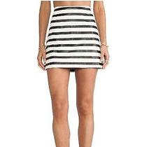 Minkpink Next in Line White and Black Stripe Skirt Size Medium Free Shipping  Photo