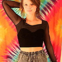 Minkpink Velvet 90's Grunge/punk/goth Black Crop Top W/ Mesh Photo