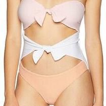 Minkpink Women's Swimwear White Pink Size Small S Tied-Front One-Piece 78 984 Photo