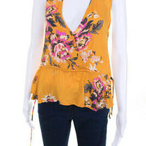 Minkpink Womens Tokyo Floral Print v Neck Blouse Yellow Size Small 11221657 Photo
