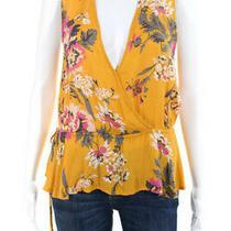 Minkpink Womens Tokyo v Neck Floral Print Blouse Yellow Size Medium 11221658 Photo