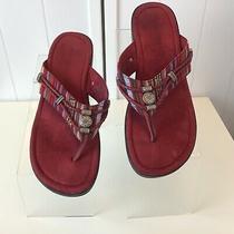 Minnetoka 700001 Burgundy Red Flip Flop Sandal Striped Colorful Beaded Size 10 Photo
