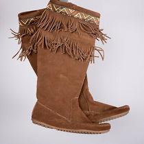 Minnetonka 1678 Leather Side Zip Fringe Boots Women's Size 8 Photo